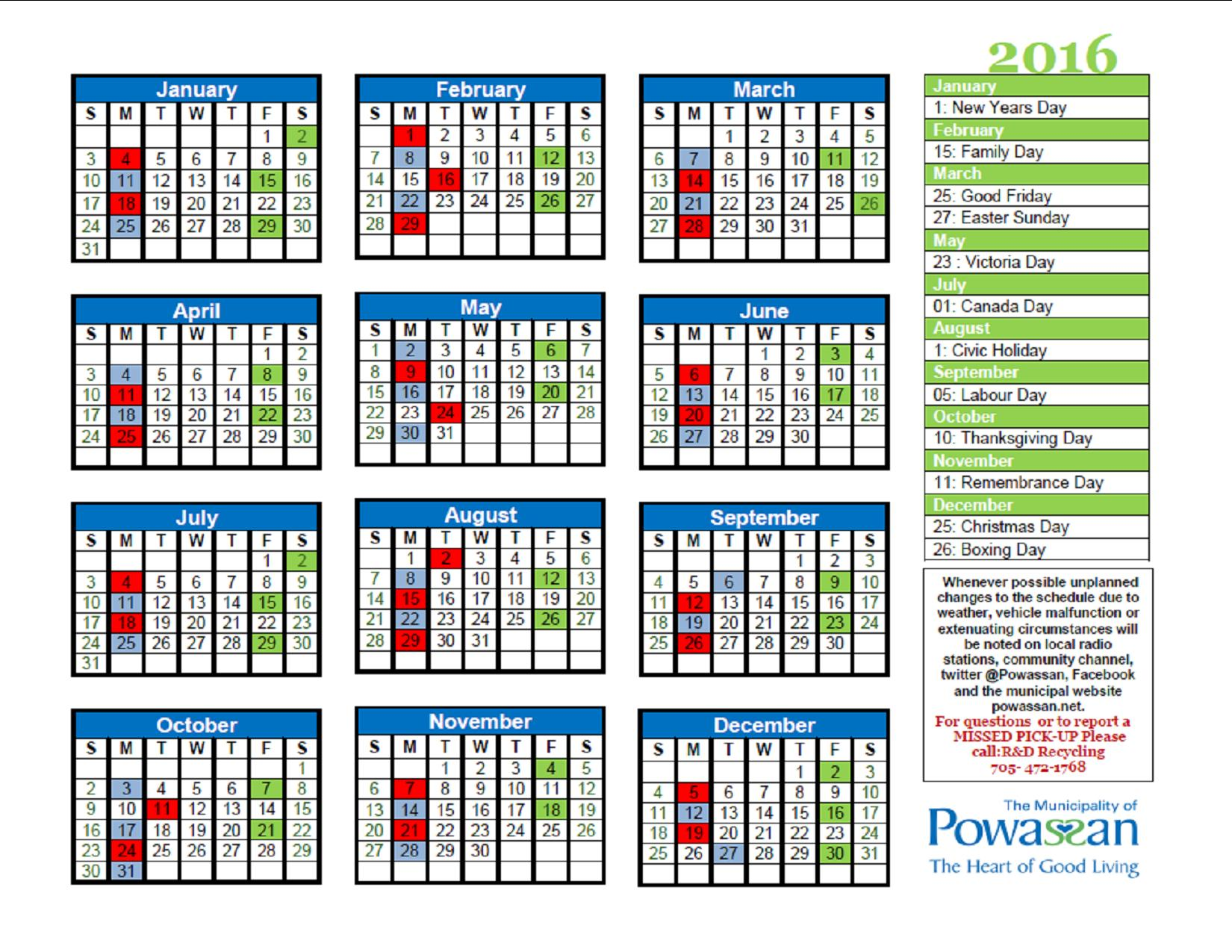 2016 Recycling Schedule