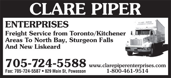 Image for Clare Piper Enterprises - Trucking/Heating Sales