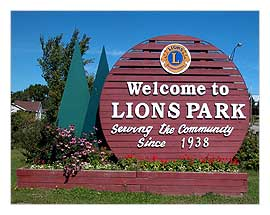 Picture of the Welcome to Lions Park sign at the Lions Park